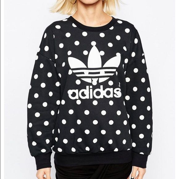 Adidas polka dot sweatshirt NWT Adidas black crew neck sweatshirt with white polka dots and white logo. Size medium Adidas Tops Sweatshirts & Hoodies