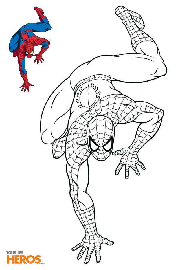Coloriage Spiderman En Train De Ramper Pour Surprendre L Ennemi