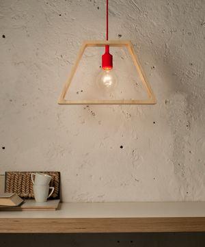 Lampada a sospensione in legno e silicone naturale e rosso 16/47x27x127 cm LUCE+