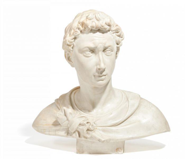 b ste eines j nglings italien um 1800 kopie nach donatello wei er marmor knabe mit. Black Bedroom Furniture Sets. Home Design Ideas