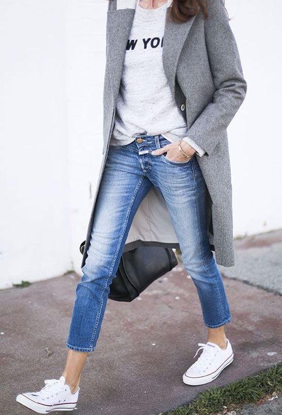 MINIMAL + CLASSIC // converse sneakers with cropped denim, long grey coat