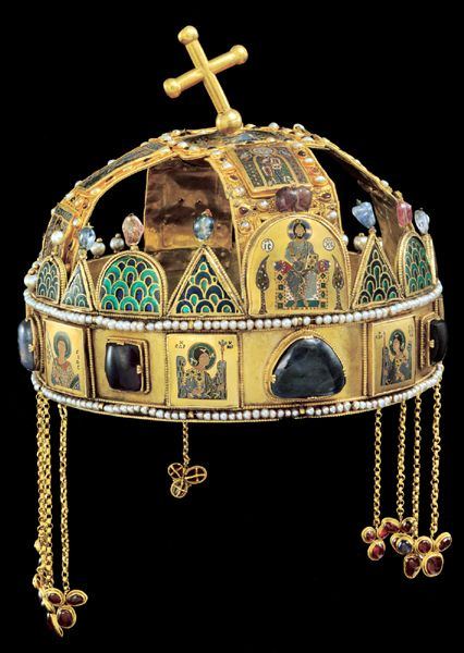 Crown of St. Stephen. The Holy Crown of Hungary, also known as the Crown of Saint Stephen, was the coronation crown used by the Kingdom of Hungary for most of its existence. The Crown was bound to the Lands of the Crown of Saint Stephen. No king of Hungary was regarded as having been truly legitimate without being crowned with it. In the history of Hungary, more than fifty kings were crowned with it (the two kings who were not so crowned were John II Sigismund and Joseph II).