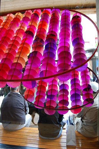 Recreate this with paint, hula hoop, dyed paper/filters and dowels.