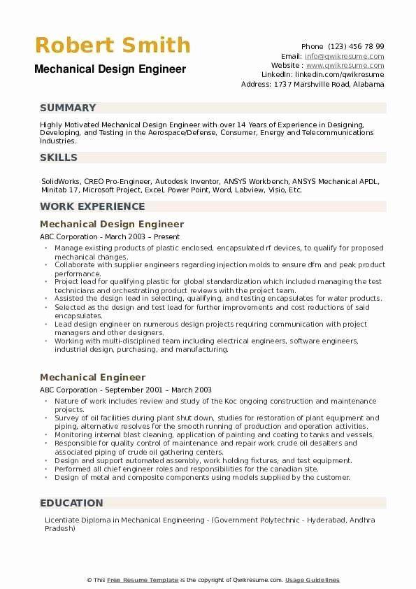 Entry Level Mechanical Engineering Resume 2 Fresh Mechanical Design Engineer Resume Samples In 2021 Engineering Resume Job Resume Examples Resume