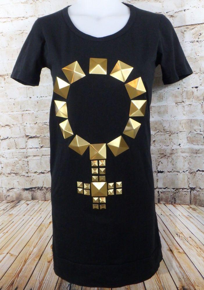 Herve Guyel Paris Studded Venus Symbol Tunic T Shirt Dress Small Medium Female #HerveGuyel #TShirtDress #Casual #female #venus #women