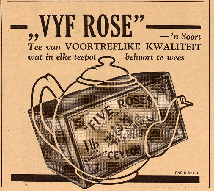 Five Roses Tea .Ad.....in Afrikaans from South Africa