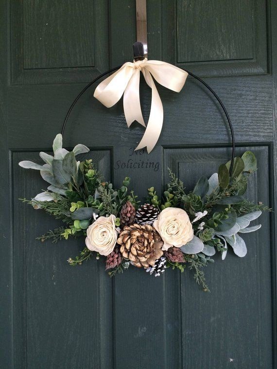 Christmas wreath, Christmas wreath, Christmas decoration, hoop wreath, modern wreath, door wreath, entry door wreath, natural wreath