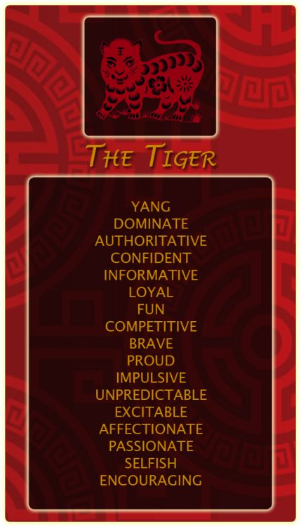 Chinese Signs: Tiger - Register at our site and find out your Chinese animal sign! http://bit.ly/1dqeH58