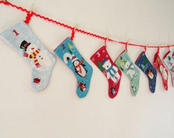 Kids retro stocking advent Calendar, Kids bunting advent calendar, Reuseable advent calendar, Christmas advent calendar, Christmas countdown - Edit Listing - Etsy