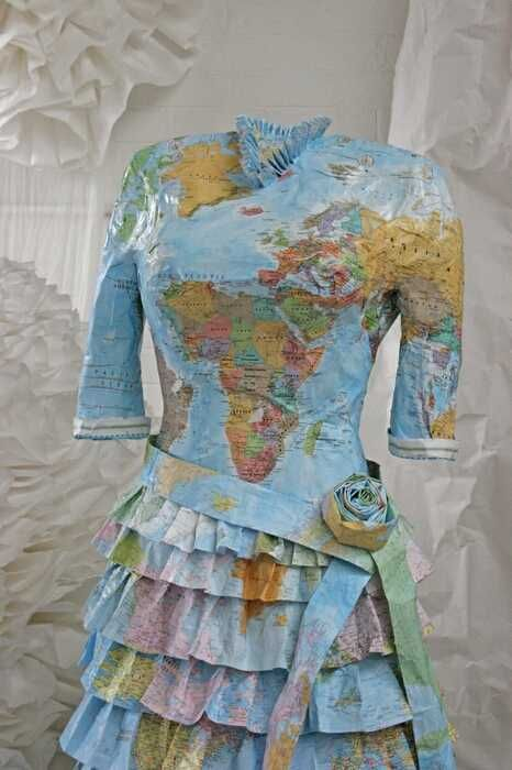 "Susan Stockwell's dress, titled ""Colonial Dress"", was made out of world maps, wire and glue!"