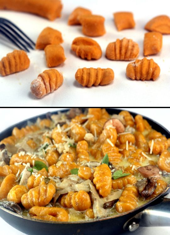 Homemade Sweet Potato (or Pumpkin) Gnocchi http://parsleysagesweet.com/2011/11/07/pumpkin-gnocchi-with-creamy-mushrooms-for-src-and-squashlove/ #pasta #recipe #healthy #recipes #easy