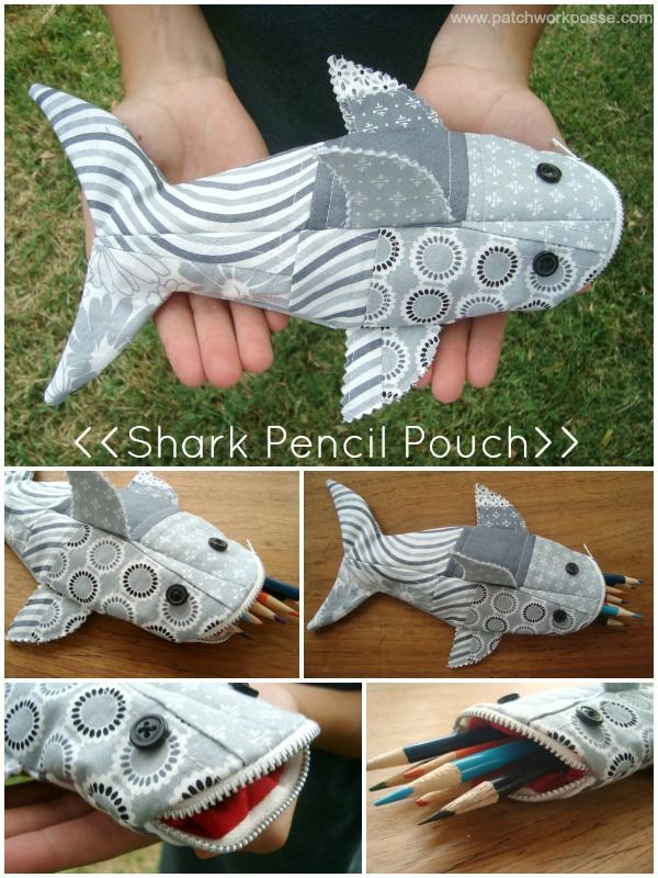 Cute Sewing Shark Pencil Case. Easy sewing project that could hold a bunch of pencils and look cool! Perfect for back to school supplies.