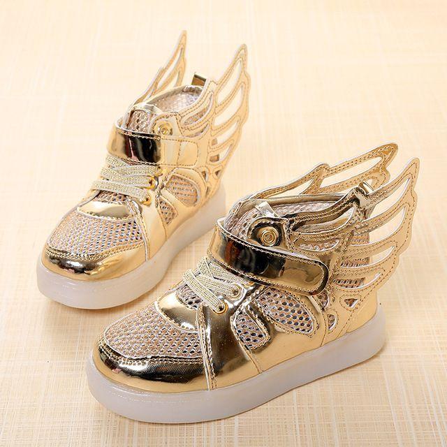 2016 Nuevos Niños Del Resorte zapatos de Marca Zapatos Del Bucle Del Gancho LED Iluminado Niños Sneakers Niños Led Zapatillas Niños Niñas Alas Zapatos
