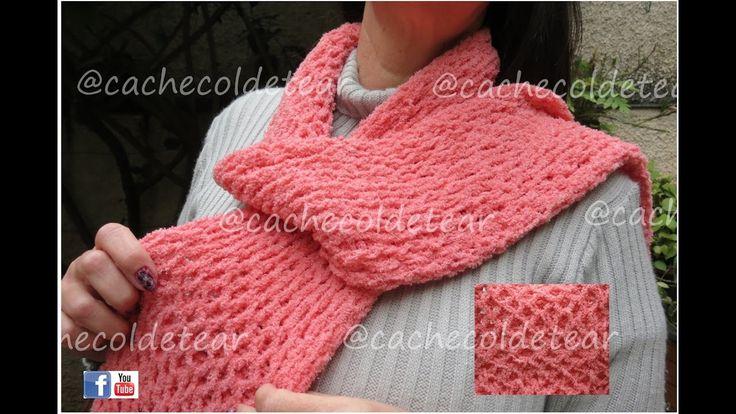 cachecol em tear, ponto colmeia, manual scarf - artesanato