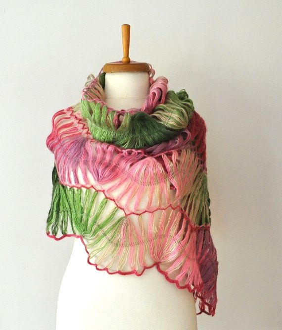Pink and Green Crochet Shawl by DokumaAccessories