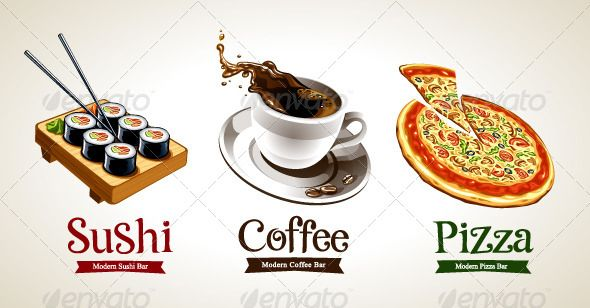 Sushi, Coffee and Pizza #GraphicRiver Sushi, coffee and pizza isolated on white. Vector illustration. NOTE: text is not editable. Created: 21May13 GraphicsFilesIncluded: JPGImage #VectorEPS Layered: Yes MinimumAdobeCSVersion: CS Tags: angle #background #bar #brand #cafe #classic #coffee #cup #design #drink #font #food #icon #illustration #image #isolated #italian #japanese #menu #modern #pizza #restaurant #set #shop #sign #sushi #symbol #tilt #title #vector