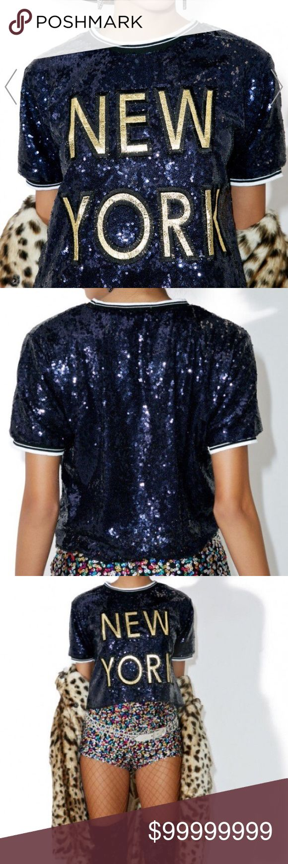 """Navy New York sequined tee This chic cropped tee features a boxy fit, navy blue sequined and a shimmery golden embroidered patch on the chest reading NEW YORK OS-top of shoulder approx 17.5"""" arm pit to arm pit approx 18"""" small amount of stretch Non smoking home Tops Tees - Short Sleeve"""