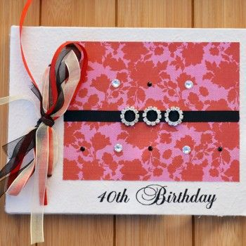 Crimson Blooms 40th Birthday Guest Book
