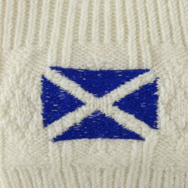 Gents Cream Kilt Hose with embroidered Saltire. 46% Wool, 46% Acrylic, 7% Nylon and 1% Lycra