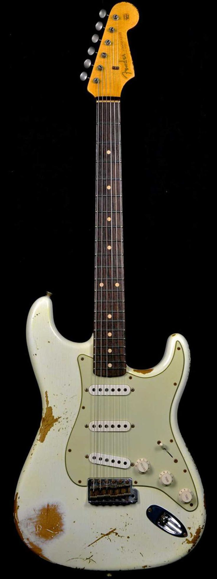 Fender 1960 Stratocaster Heavy Relic Rosewood Slab Board Olympic White