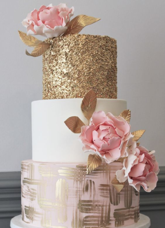 Adorably gorgeous pink, white and gold wedding cake; Featured Cake: Alliance Bakery