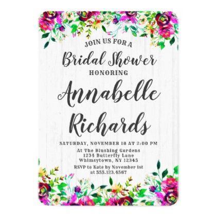 Purple Magenta & Green Bridal Shower Invitation - wedding invitations diy cyo special idea personalize card