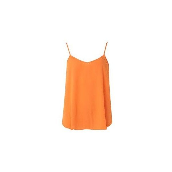 Orange Inverted Pleat Cami top ❤ liked on Polyvore featuring tops, red cami, cami tank tops, orange camisole, orange cami top and camisole tops
