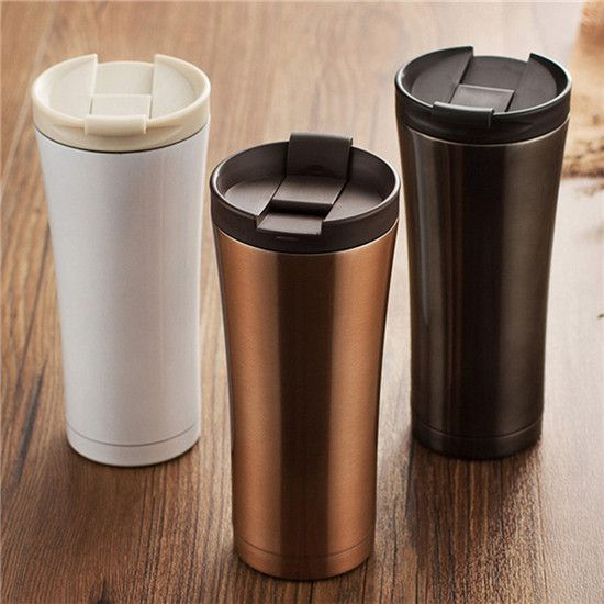 #breakfast #morning Hot Sale brief Double Wall Stainless Steel Coffee Thermos Cups Mugs Thermal Bottle 500 ml Fashion Tumbler Vacuum Flask HJ29