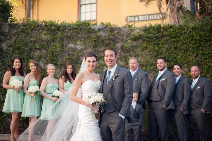 mint and grey bridal party
