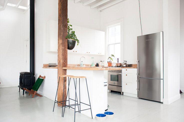 wood + white open kitchen