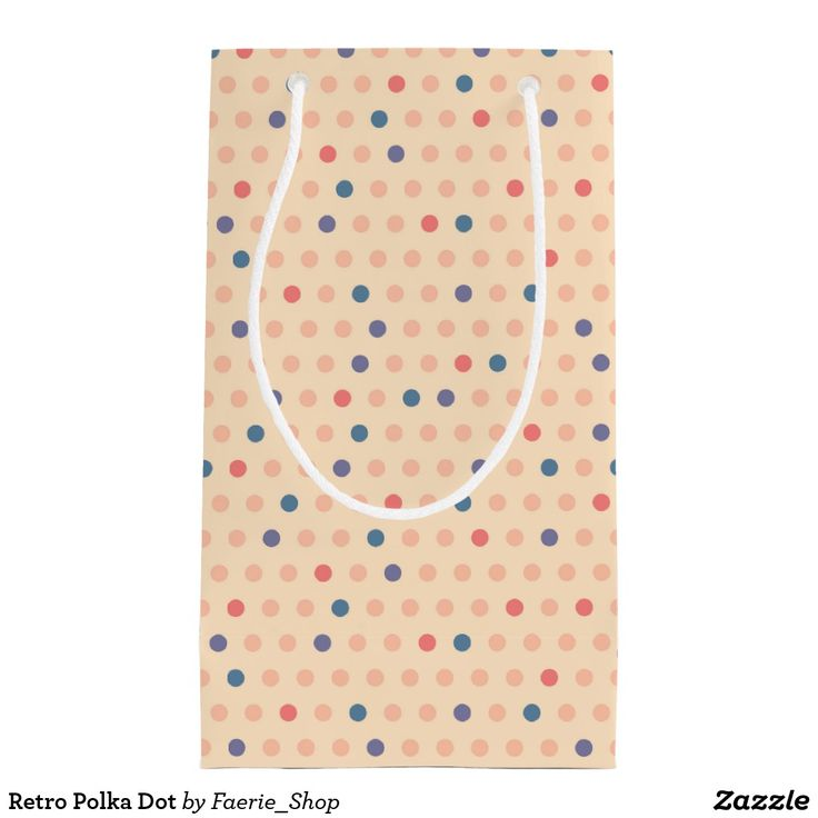 Retro Polka Dot Small Gift Bag #faerieshop #vintage #circle #polka #dot #trendy #pattern #retro #monogram #geometric #monogram #style #simple #abstract #old #design #beige #peach #red #blue #beautiful #fashion #modern #print #background #sale #zazzle  #present #gift