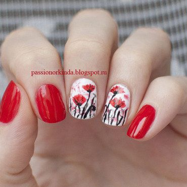 Abstract poppies nail art by Passionorkinda