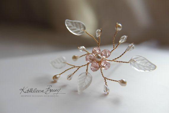 Da sposa cristallo fiore spillone per capelli in Blush rosa e oro, capelli sposa accessori, anche in chiaro rame o argento stile: Amy