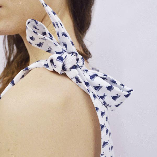 Cropped Top Bokiku in White Wale Pattern Poplin – Akira Mushi