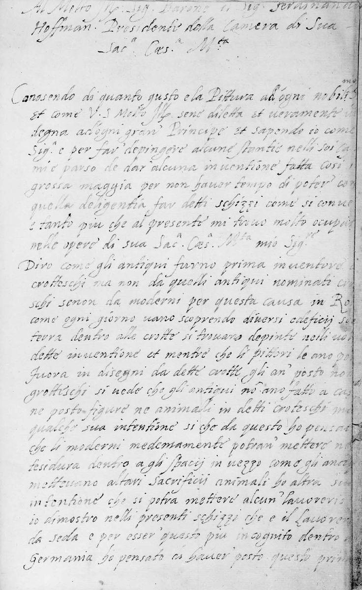 Lettera di Arcimboldo al Sig. Barone il Sig. Fernando Hoffman. Presidente della Camera di Sua Sactissima Caesarea Maestà