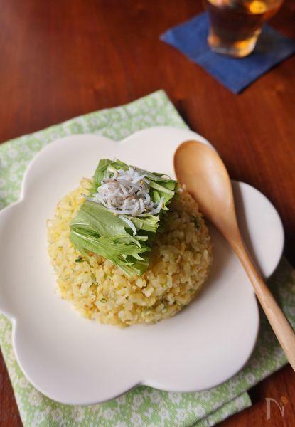 水菜の白い部分はみじん切りにしてご飯と一緒に炒め、食べやすく仕上げました。にんにくの風味としらすの塩気が食欲をそそります。チャーハンの黄色と水菜のグリーンの組み合わせで春らしい一品に。
