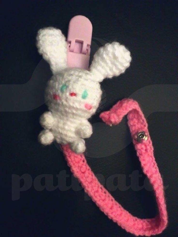 Designer Crochet Amigurumi Patterns Merida Warrior Princess : Bunny - crochet pacifier clip - 17cm by patipatahandmade ...