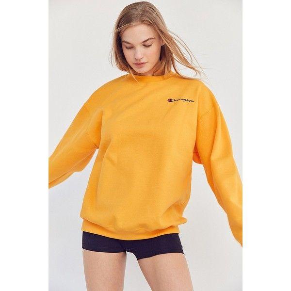 Champion + UO Mini Logo Crew-Neck Sweatshirt ($55) ❤ liked on Polyvore featuring tops, hoodies, sweatshirts, long sleeve tops, champion sweatshirt, crew neck sweatshirts, yellow top and crew-neck tops