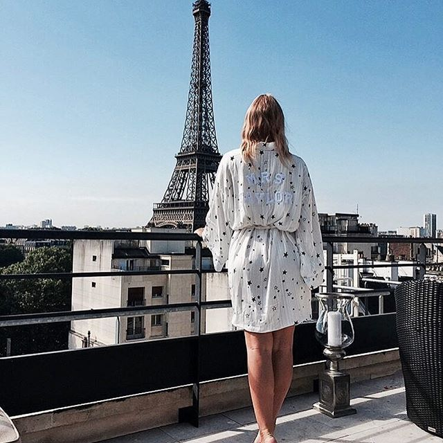 • MRS TAYLOR • Congratulations to this beauty @amyjohutchison who wore our personalised robe the morning of her big day in Paris • Shop the look now • Link in bio • #oneday #wedding #onedaybridal #bride #paris #destinationwedding  #Regram via @onedaybridal