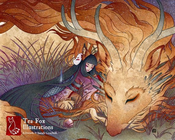 Sommeil / Kitsune renard Dragon Yokai / Japanese Style asiatique / 8 x 10 Fine Art mat Print