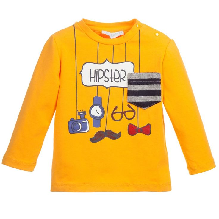 Baby boy's bright orange long-sleeved t-shirt by<span>Silvian Heach, made from a cotton mix with a stretchy feel. It has a round neckline with popper fastening on the one shoulder. There is a chest woollen pocket and a print of fashion items hanging from the collar with the word Hipster printed on the front.<br /></span> <ul> <li>95% cotton, 5% elastane (cotton jersey feel)</li> <li>Hand wash</li> <li>Popper fastening</li> <li>Designer colour: Mostarda</li> </ul>