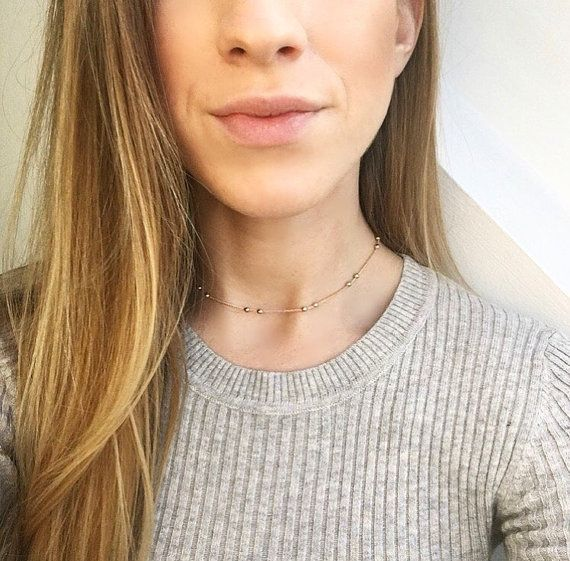 Featured #etsy Seller: Aspen Choker - Rose gold choker necklace, dainty beaded circle choker on 12 inch rose gold necklace chain… #jewellery