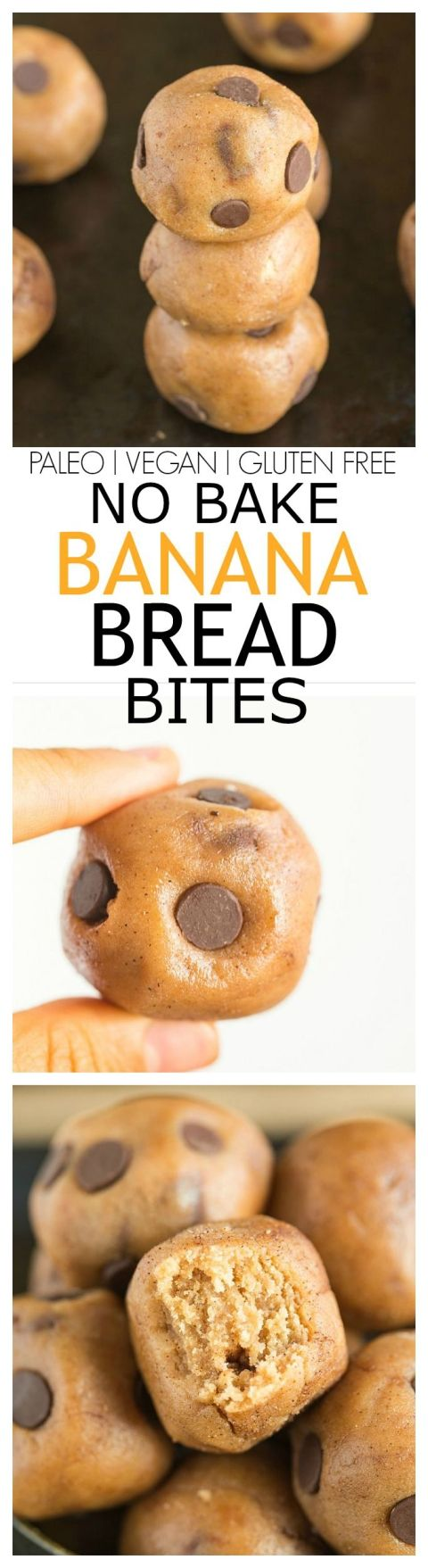 No Bake Banana Bread Bites- Delicious, healthy bites which taste JUST like banana bread without the need for baking! Quick, easy and a delicious snack! {vegan, gluten free, dairy free, paleo} #Paleo #Bread #Recipes