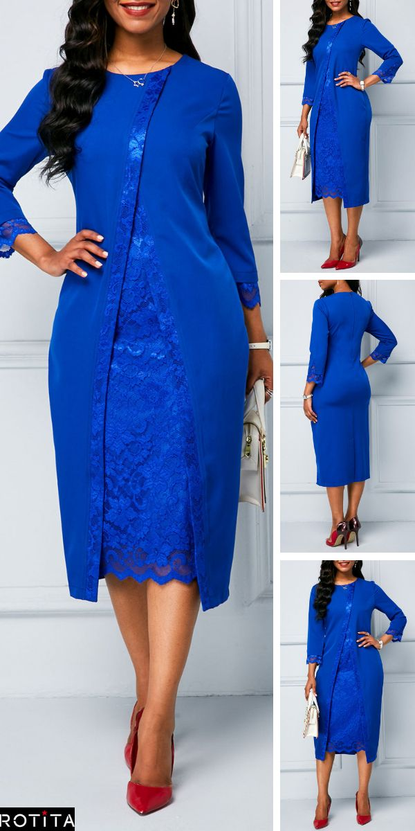 Royal Blue Lace Panel Long Sleeve Sheath Dress .Formal dinners to work events an…