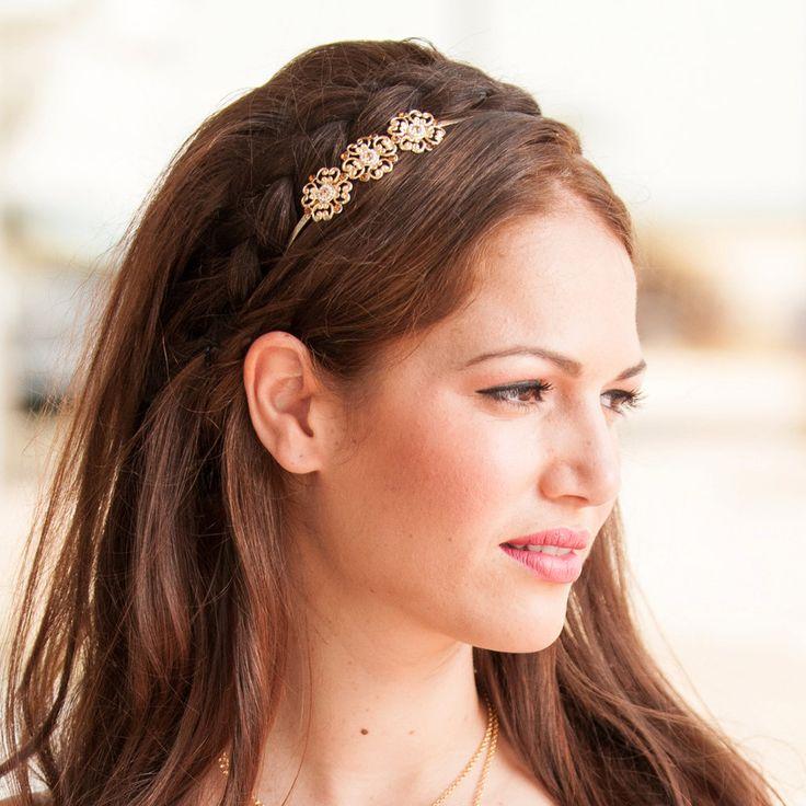 Delicate Flower Hair Band - Bridal Hair Accessories - Bridal Headband - Bridal Head Piece - Wedding Hair Accessory - Crystal Hair Band
