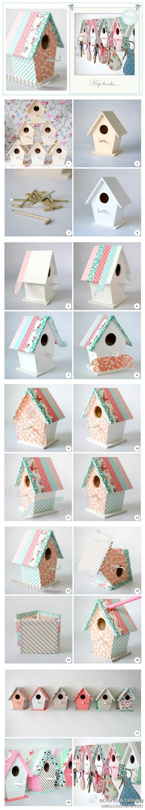 Little House Key Holders (Glue fabric to wooden birdhouse forms)