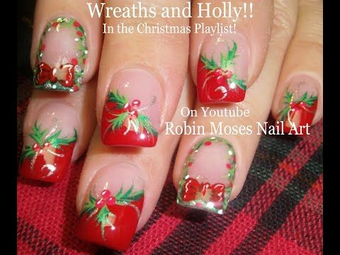 Easy Christmas Nails! | Holly and Xmas Wreath Nail Art Tutorial Design - YouTube
