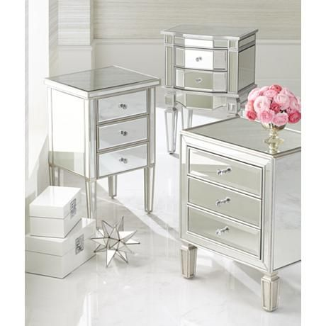 Lovely Aneta Hand Painted Silver Leaf Accent Table