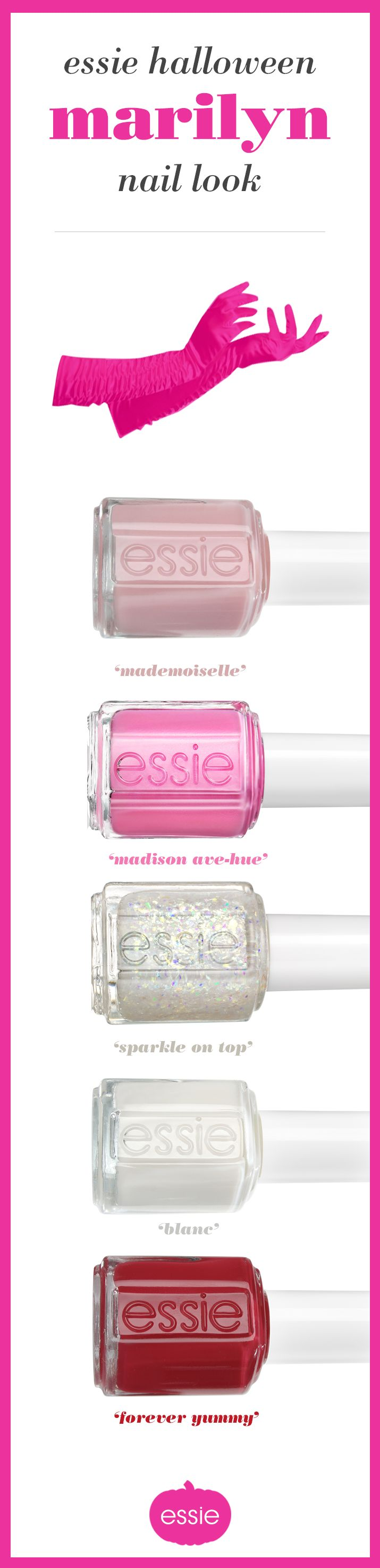 A girl in a glamorous mood knows her nail polish must follow through. Get into the sophistication of 'mademoiselle', the seduction of 'madison ave-hue', the dazzle of 'sparkle on top', the serenity of 'blanc', or the vivaciousness of 'forever yummy'. Tonight is your premiere; make an entrance like a 1950's Hollywood celebrity in these fabulous essie shades.