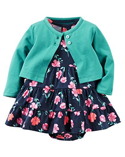 Carters Baby Girls 2 Piece Floral Dress Set GreenNavy Flowers3M * You can get more details by clicking on the image.